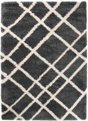 HIMALAYA Area Rug Shaggy 5cm Long Pile Abstract Lines Dark Grey