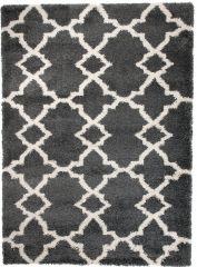 HIMALAYA Area Rug Shaggy 5cm Long Pile Round Trellis Charcoal Grey