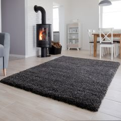 HIMALAYA Shaggy Teppich Hochflor Langflor Anthrazit
