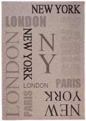 FLOORLUX Vloerkleed Tapijt Creme Zwart New York Paris London Design