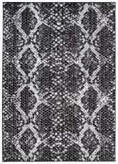 DREAM Teppich Kurzflor Schwarz Grau Creme Schlange Design