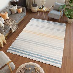 JUNGLE Teppich Sisal Outdoor Flachgewebe Creme Gelb Blau Terrasse