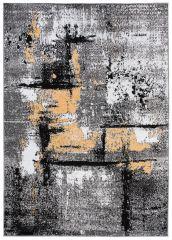 Maya Teppich Kurzflor Modern Grau Creme Schwarz Gelb Meliert Streifen