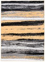 Maya Teppich Kurzflor Modern Grau Gelb Creme Schwarz Streifen