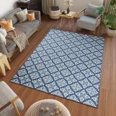 JUNGLE Teppich Sisal Outdoor Flachgewebe Geometrisch Blau Creme