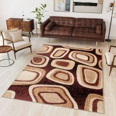 DREAM Vloerkleed Bruin Modern Geometrische Vormen Woonsfeer
