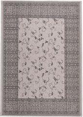 FLOORLUX Vloerkleed Tapijt Grijs Zilver Frame Duurzaam Bloemen