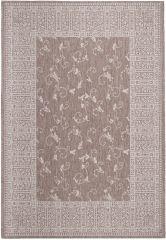 FLOORLUX Vloerkleed Tapijt Bruin Bloemenprint Frame Praktisch Design