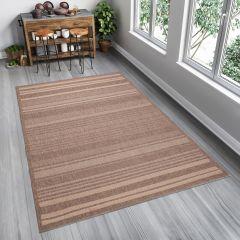 FLOORLUX Teppich Flachgewebe Sisal Beige Streifen Modern Design