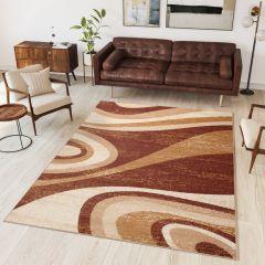 DREAM Vloerkleed Bruin Golven Design Modern Abstract Interieur