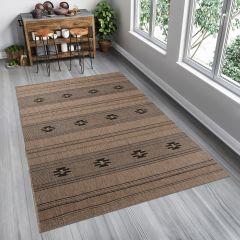 FLOORLUX Teppich Flachgewebe Sisal Modern Braun Schwarz Streifen