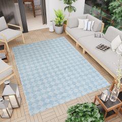 Terazza Teppich Sisal Modern Design Blau Creme Karo