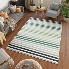 JUNGLE Teppich Sisal Outdoor Flachgewebe Modern Streifen Creme Grün
