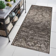 FLOORLUX Sisal Carpet Runner Hallway Vintage Black Silver
