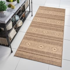 FLOORLUX Sisal Carpet Runner Hallway Dining Aztec Coffee Natural