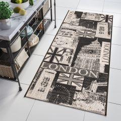 FLOORLUX Sisal Carpet Runner Hallway Dining London Black Silver