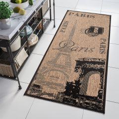 FLOORLUX Tapis de Passage Moderne Paris Marron Noir Résistant