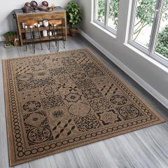 FLOORLUX Sisal Area Rug Mosaic Tiles Coffee Black Durable Carpet