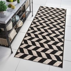 FLOORLUX Modern Sisal Carpet Runner Geometric Silver Black