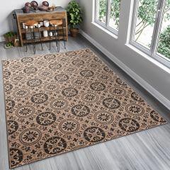 FLOORLUX Sisal Area Rug Ornament Brown Coffee Durable Carpet