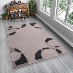 FLOORLUX Teppich Flachgewebe Sisal Modern Grau Schwarz Kreise