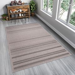 FLOORLUX Teppich Flachgewebe Sisal Beige Braun Streifen Modern