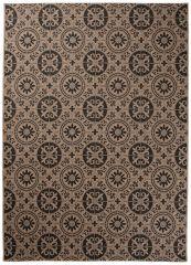 FLOORLUX Vloerkleed Tapijt Mozaiek Bruin Creme Duurzaam Hoogwaardig