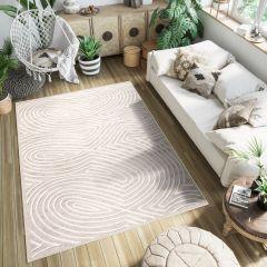 FIESTA Teppich Kurzflor Beige Creme Modern Streifen Wellen Design