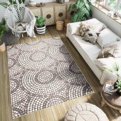 FIESTA Teppich Kurzflor Grau Beige Mosaik Kreise Meliert Design
