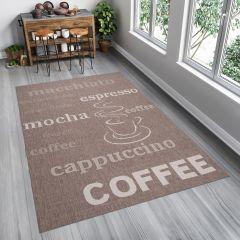 Kitchen Tappeto Sisal Marrone Beige Taupe Stampa Caffè Indoor