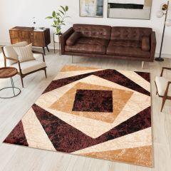 DREAM Teppich Modern Kurzflor Braun Creme Vierecke Meliert