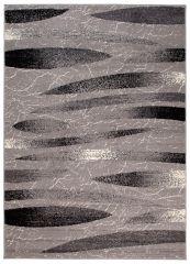 DREAM Teppich Kurzflor Modern Grau Streifen Design Meliert