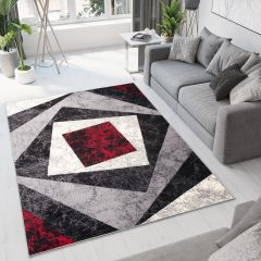 DREAM Vloerkleed Grijs Rood Abstract Squares Design Interieur