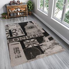 FLOORLUX Teppich Sisal Flachgewebe Schwarz Grau London Design