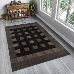 FLOORLUX Teppich Flachgewebe Modern Sisal Schwarz Karo