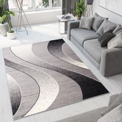 DREAM Vloerkleed Grijs Abstract Golven Design Korte Pool Sfeervol