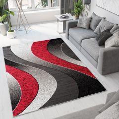 Luxury Teppich Schwarz Grau Rot Creme Modern Wellen