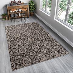 FLOORLUX Teppich Sisal Flachgewebe Schwarz Marokkanisch Ornament