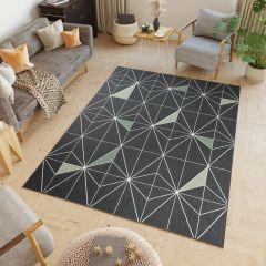 JUNGLE Teppich Sisal Outdoor Flachgewebe Modern Karo Schwarz Grün