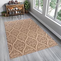 FLOORLUX Teppich Sisal Flachgewebe Braun Creme Modern Floral