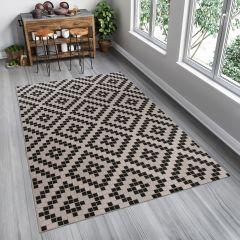 FLOORLUX Tapis Moderne Marocain Gris Noir Résistant Sisal