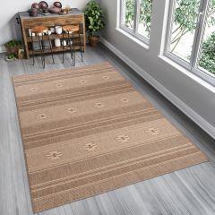 FLOORLUX Teppich Flachgewebe Sisal Hellbraun Geometrisch Streifen