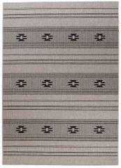 FLOORLUX Teppich Flachgewebe Sisal Modern Taupe Schwarz Streifen