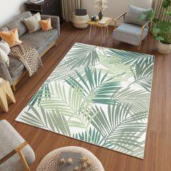 JUNGLE Teppich Sisal Outdoor Palmen Creme Grün Modern Terrasse