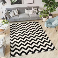 DREAM Vloerkleed Zwart Wit Zigzag Design Geometrische Vormen