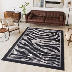 DREAM Tapis Moderne Animal Sauvage Zèbre Gris Noir Fin