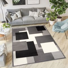 DREAM Teppich Kurzflor Grau Schwarz Weiß Vierecke Modern