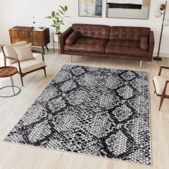 DREAM Modern Area Rug Short Pile Snake Print Grey White