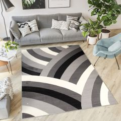 DREAM Teppich Kurzflor Grau Weiß Schwarz Modern Wellen