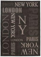 FLOORLUX Vloerkleed Tapijt Zwart Antraciet New York Paris London Design